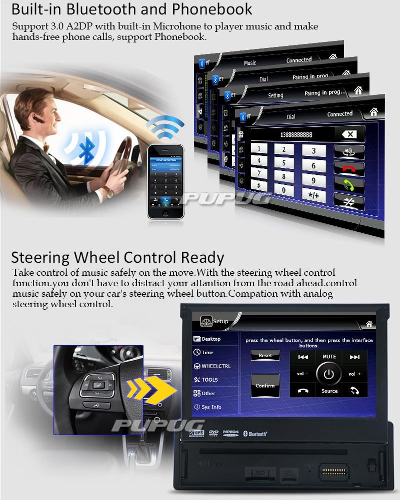 С днем отца ! 7 '' одноместный Din-радио Аудио автомобильный DVD-плеер Радио один din GPS-навигация Autoradio Стерео Bluetooth ПК DVD Automotivo