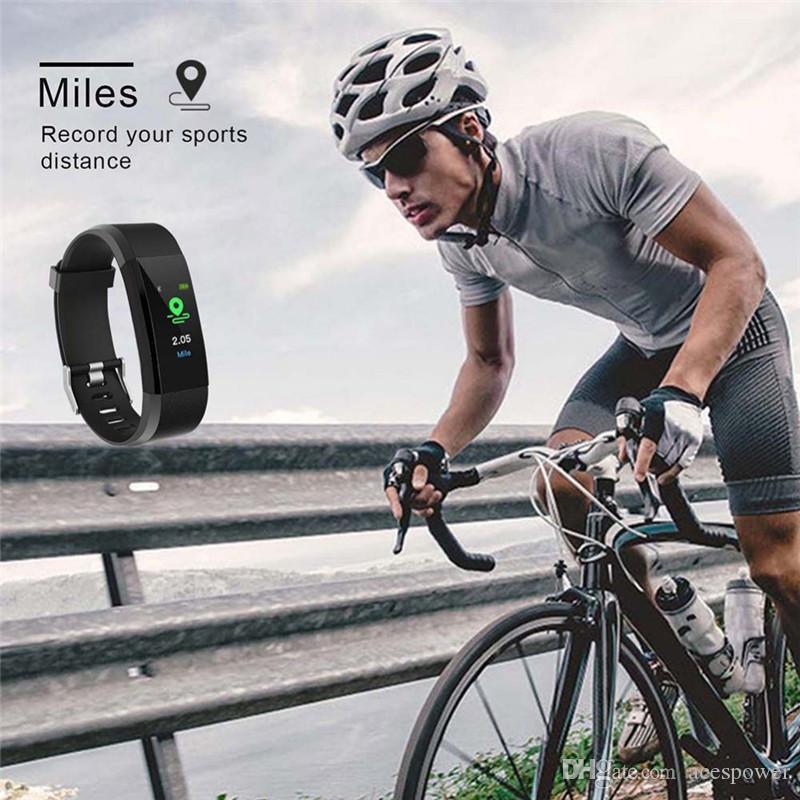 Monitor de presión pulsera elegante de la pantalla LCD inteligente reloj ID115 Plus Relojes venda de la aptitud del ritmo cardíaco Sangre inteligente Muñequera