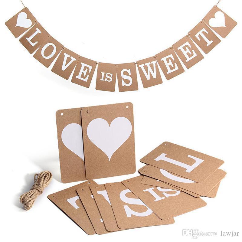 Grosshandel Grosshandels Hot Vintage Liebe Ist Suss Hochzeit Banner