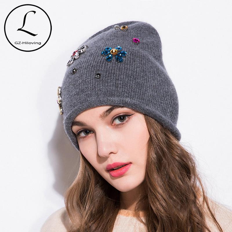 18d69eb85b6 GZHILOVINGL 2017 New Autumn Winter Rabbit Fur Wool Knitted Beanie Hat Cap  Handmade Diamond Flower Skullies Beanies For Women D18110102 Hats Online  Caps From ...