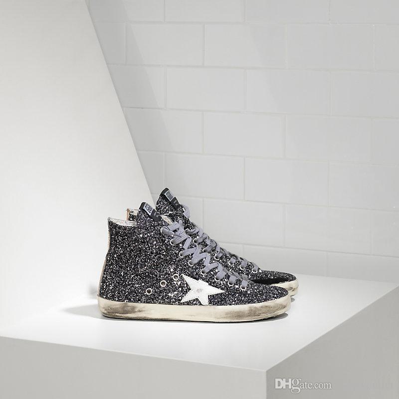 Golden Scarpe Donna Uomo Sneakers Francy In Pelle Splamata All Over Glitter  E Stella In Pelle Grey Glitter Golden Shoes Golden Superstar Online with ... 5f09694f7632