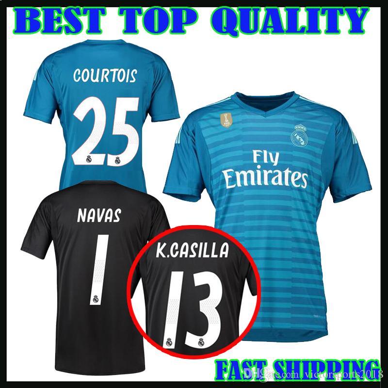 2019 18 19 Courtois 25 Real Madrid Goalkeeper Soccer Jerseys Home Away 2018  2019 Real Madrid Navas K.CASILLA Luca Goalkeeper Football Shirts From ... 51952d57d