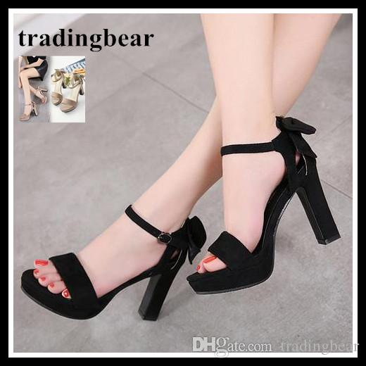 8ad7605899b Concise Sweet Bowtie Women Chunky Heel Platform Peep Toe Shoes Black ...