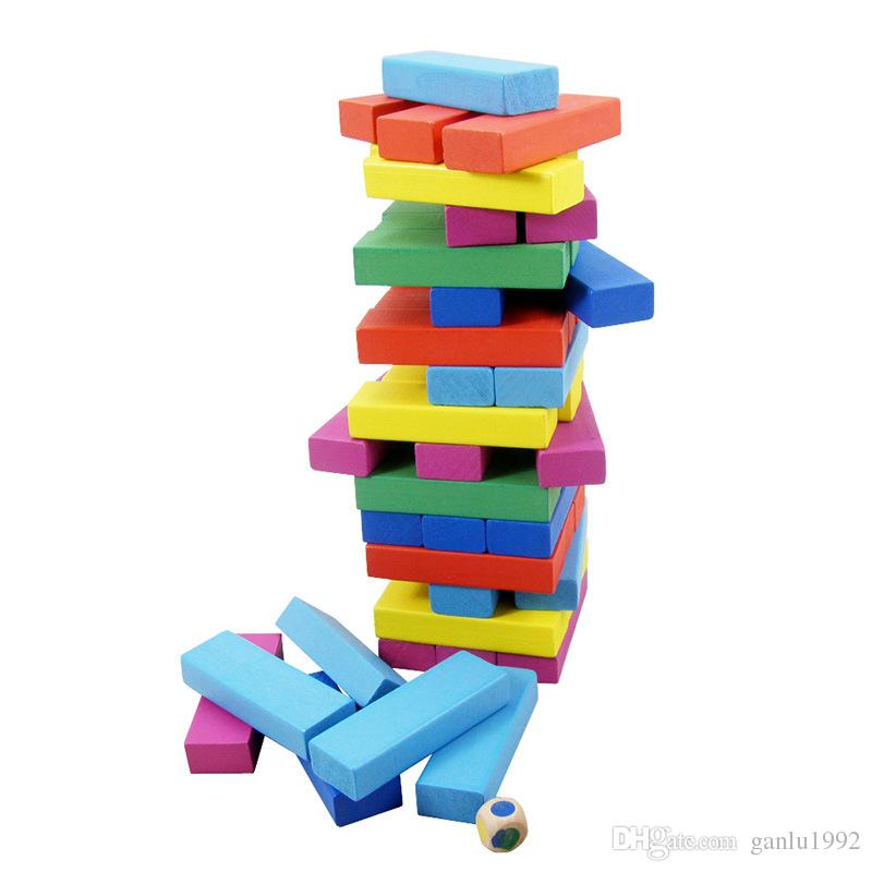 Jenga Wooden Material Multicolor Toys Classic Building Blocks Interesting DIY Puzzle Family Board Game Hot Sale 7 9zc W