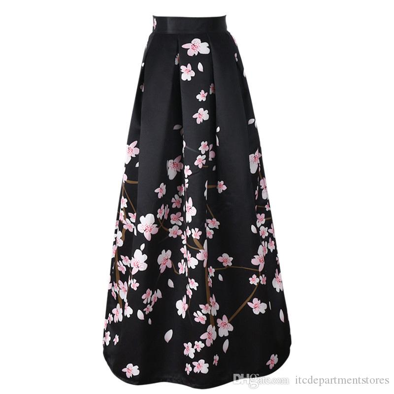 0c2a460870e2 2019 New Satin Women 100cm High Waist Flared Maxi Skirts Peach Blossom Printed  Pleated Floor Length Long Skirts Saias From Itcdepartmentstores, ...