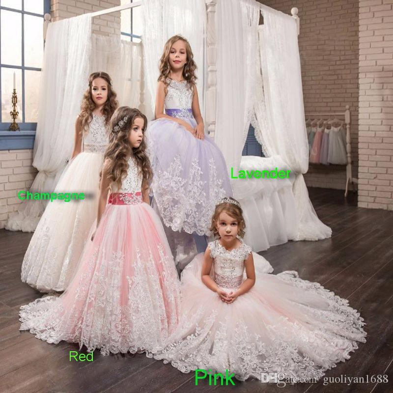 2020 Princess Lilac Little Bride Long Pageant Dress for Girls Glitz Puffy Tulle Prom Dress Children Graduation Gown Vestido