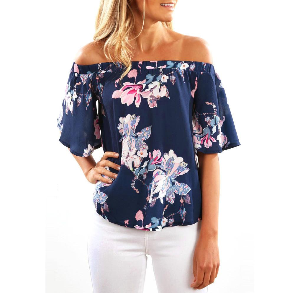 65f241824d32 Fashion Sleeveless Women Off Shoulder Floral Printed Cute Casual Tops  Kawaii Plus Size T Shirt Funny Shirt Fashion Top Femme Online with   29.68 Piece on ...