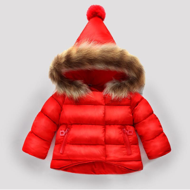 899572f8b Halloween Winter Children Girl Hand Cotton Padded Coat 2 Years Old Boys Baby  Girls Cotton Jacket Thickened Real Fur Collar Coat Girls Navy Coat Girls  Pea ...