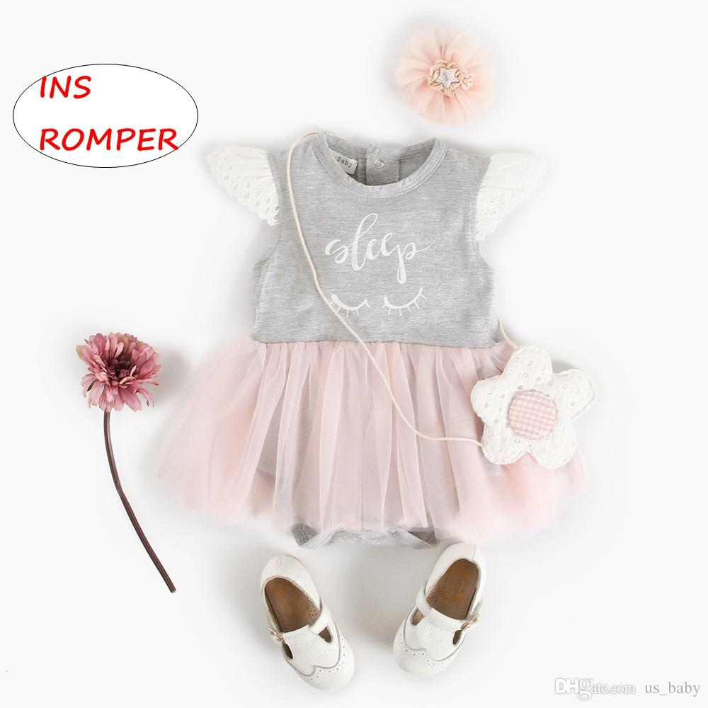 INS Baby princess Romper dress Infant Summer patchwork Jumpsuits letter print lace romper dress for 0-3T