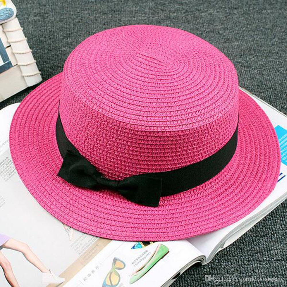 Lady Boater sun hat Ribbon Round Flat Top Straw Fedora Panama Hat summer caps for women straw hat women's hats gorras
