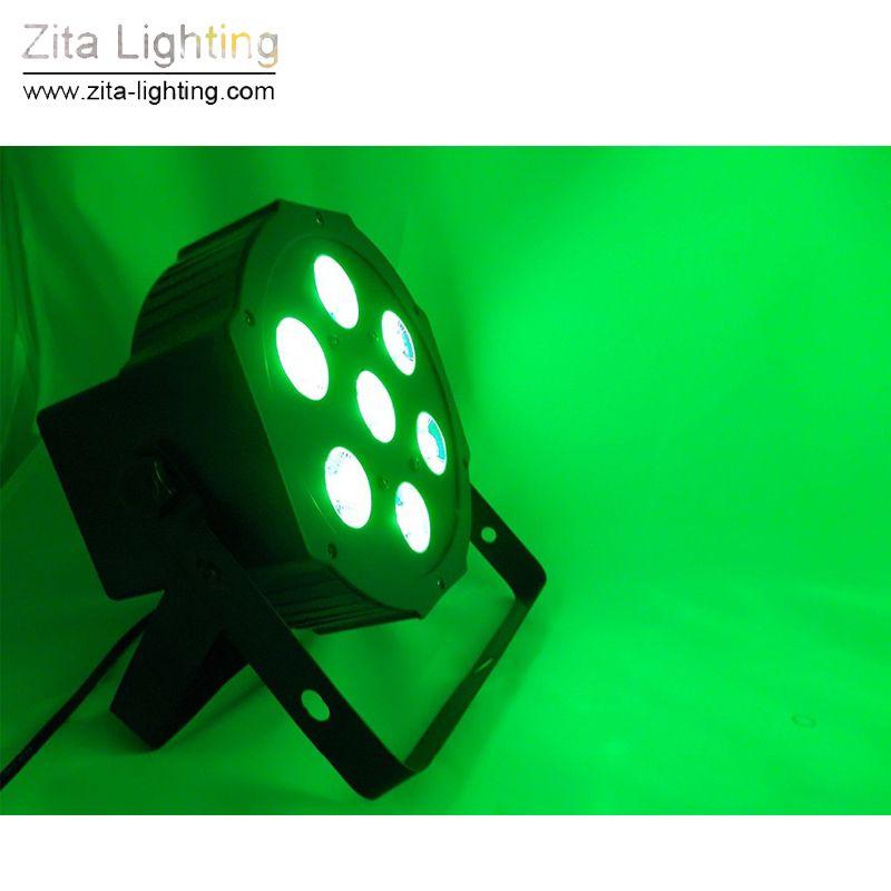 Zita Lighting LED Par Lights Mini Flat RGBW Par Can Stage Lighting 7X12W 4IN1 DMX512 SlimPar Mixing Colour DJ Disco Wedding Party Effect