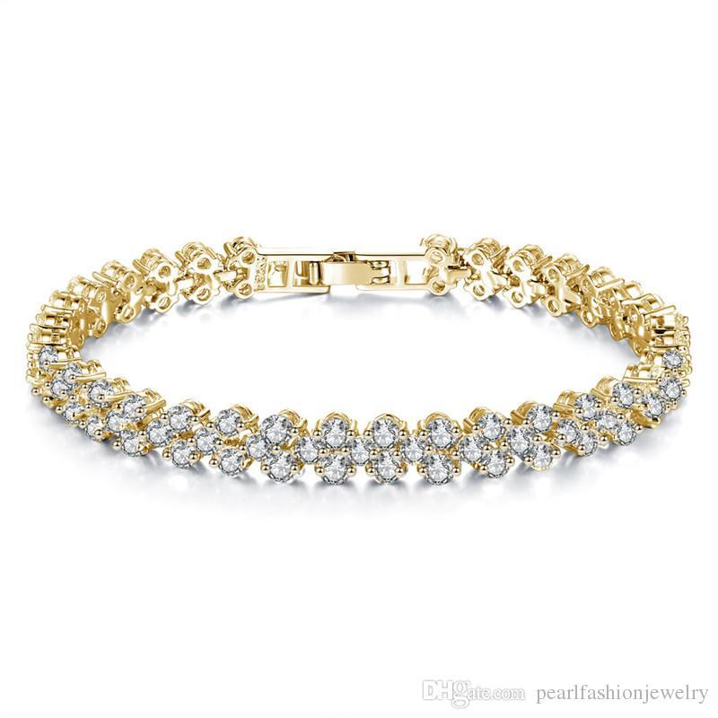 a0f03a1f Moda Roman Crystal Tennis Pulsera Mujeres 18 K Pulseras de Oro Corazón  Brillante Diamante Amor Pulsera Broche de Joyería Al Por Mayor