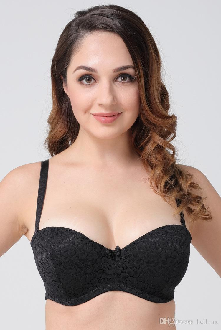 de1a5325f0913 2019 High Quality Full Lace Bra Big Size Cup For Plumpe Women Lightly Padded  Push Up Bra With Removable Strap From Hclhmx
