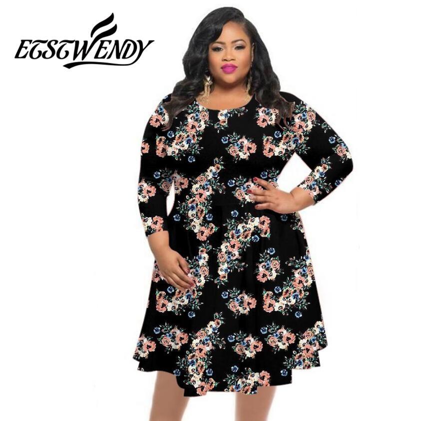 High Stretch Big Size Summer Dress 2018 Women Dress Print Hem Loose ... 996be585a18a