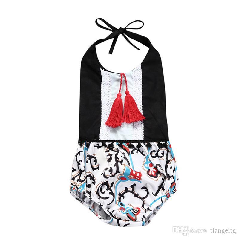 006d34b9610 Girls Romper with Tassels Floral Printed Lantern Pants Summer ...