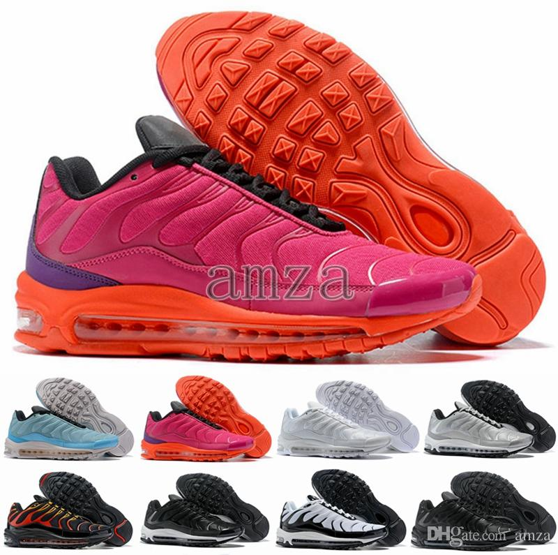 2018 New 97 Plus Tn Tuned 1 Hybird Mens Women Running Shoes 97s Tns White  Balck Shock Sliver Sneakers Trainers Sports Air Chausseures Cheap Running  Shoes ... 7748a86c3168