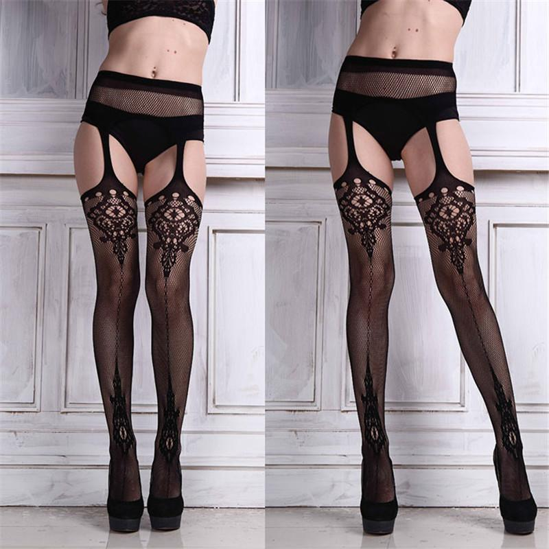 c7d1abee8 2019 Hollow Out Tights Lace Sexy Stockings Female Thigh High Fishnet  Embroidery Transparent Pantyhose Women Black Hosiery 2018 New From  Qingxin13