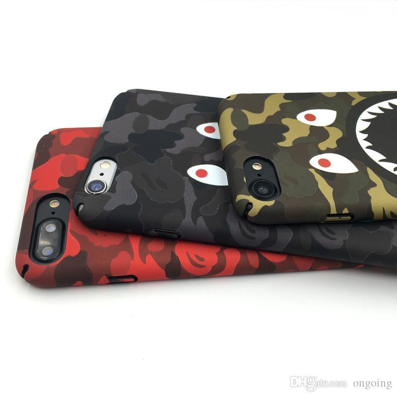 Para iPhone X Caja del teléfono Moda Camuflaje Boca de tiburón Patrón Mate Casos de PC dura para iPhone 7 8 6 6 s más cubierta