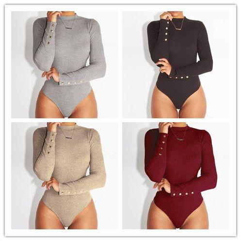 f9cc7677e76 2019 Women Long Sleeve Shirt Jumpsuit Bodysuit Pants Stretch Leotard Top  Blouse T Shirt From Christinaaa