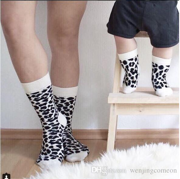 Leopard Printed Unisex Adult Men Women Kids Long Long Cotton Socks Family Matching Parent-child Socks Mummy Daughter Dad Son Socks