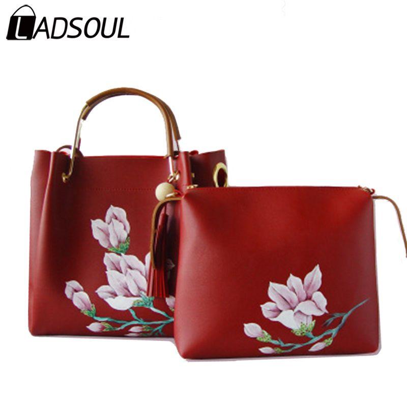 65dd864c59b8 LADSOUL Handbag Chinese Style Women PU Leather Handbags Lady Flower  Shoulder Zipper Hand Painted Girls Composite Bag A4624 H Discount Designer  Handbags ...