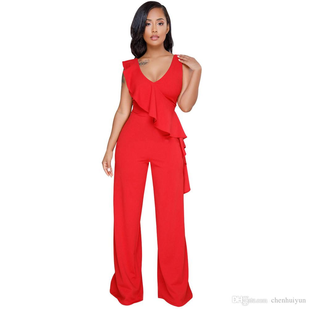 3dfd20776c0b6 Hot Sexy Red Asymmetric Ruffle Trim Wide Leg Jumpsuit Leg Jumpsuit Women  Jumpsuit Women Rompers Online with  25.15 Piece on Chenhuiyun s Store