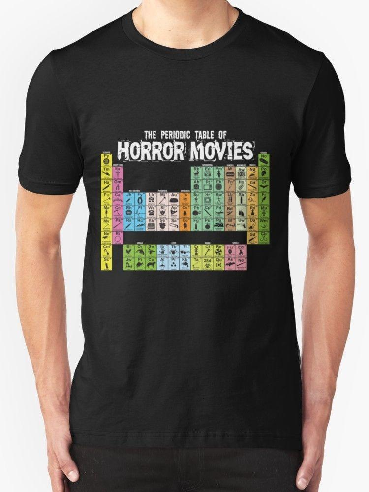 New Periodic Table Of Horror Movies Mens T Shirt Size S 2xl Men T