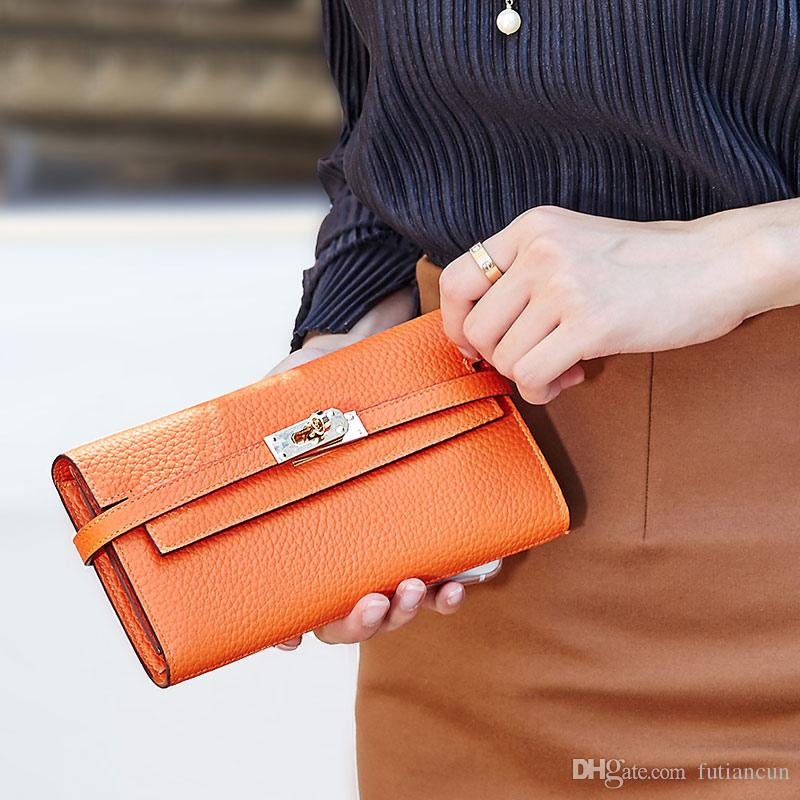 The new AAAAA head layer cowhide long lock leather wallet bag lady hand bag