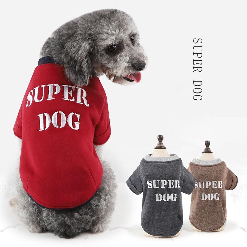 Compre 1 UNIDS Super Dog Bordado Suéteres Para Perros Pequeños ...