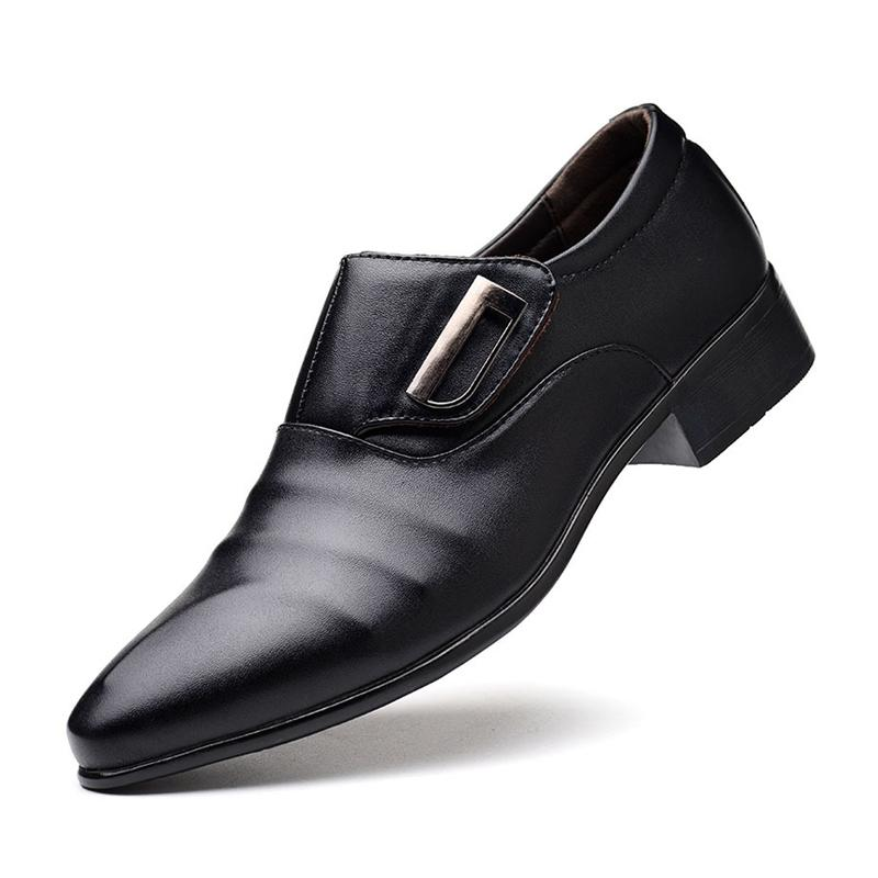 a060b77486c7 New Men Dress Shoes Pointed Toe Slip On Men Business Weding Casual Shoes  Low Heels Black Soft PU Leather Oxford For Male Formal Shoes Cheap Formal  Shoes New ...