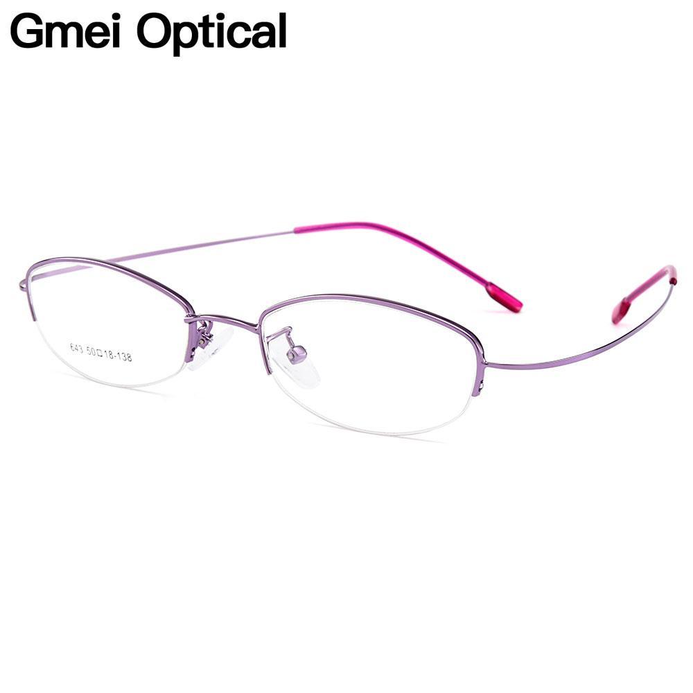 4e615239de Gmei Optical Women Ultra-Light Semi-Rimless Memory Titanium Alloy ...