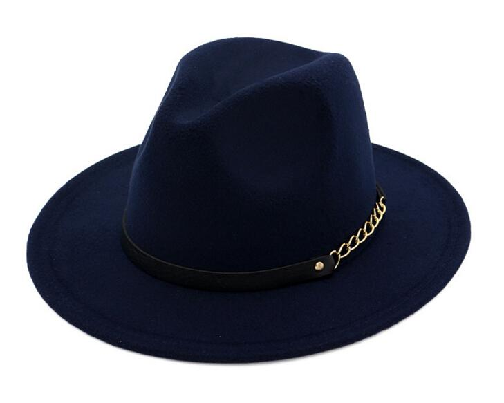 Mode TOP Chapeaux pour hommes femmes Mode élégante Feutre solide Fedora Hat Band Large Flat Bord Jazz Chapeaux Élégant Trilby Panama Caps
