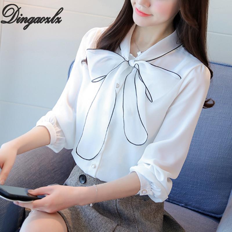 1da33a124262a Satın Al Dingaozlz Zarif Kadın Uzun Kollu Şifon Ofis Gömlek Gündelik Giyim  Moda Yay Dikiş Şifon Bluz Kadın Üstleri Kore, $24.08 | DHgate.Com'da