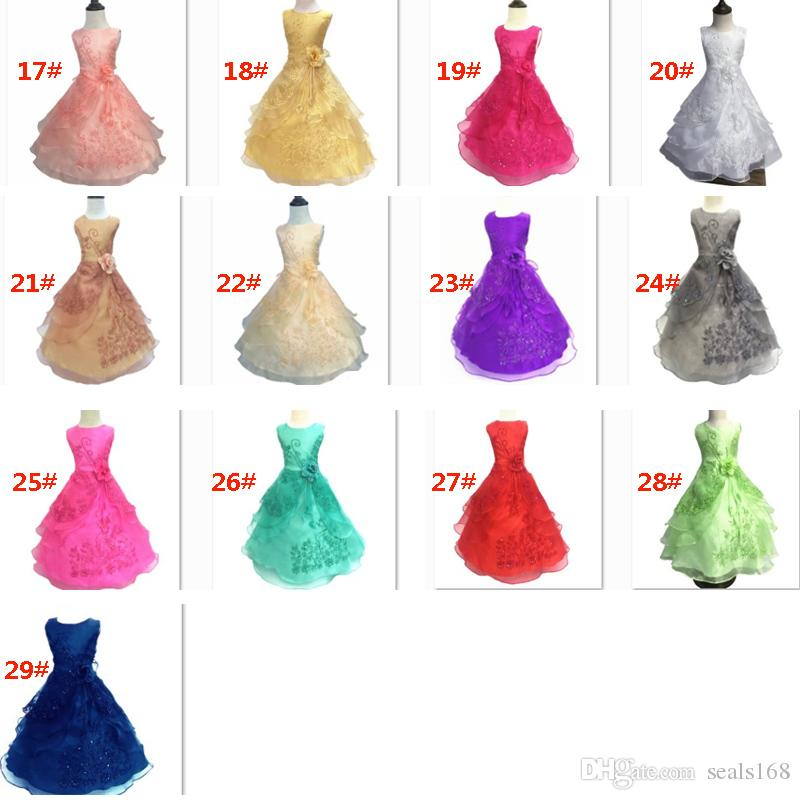 29 색상 새 여자 꽃 드레스 수 놓은 파티 결혼식 신부 들러리 공주 드레스와 정장 어린이 어린이 의류 HH7-937
