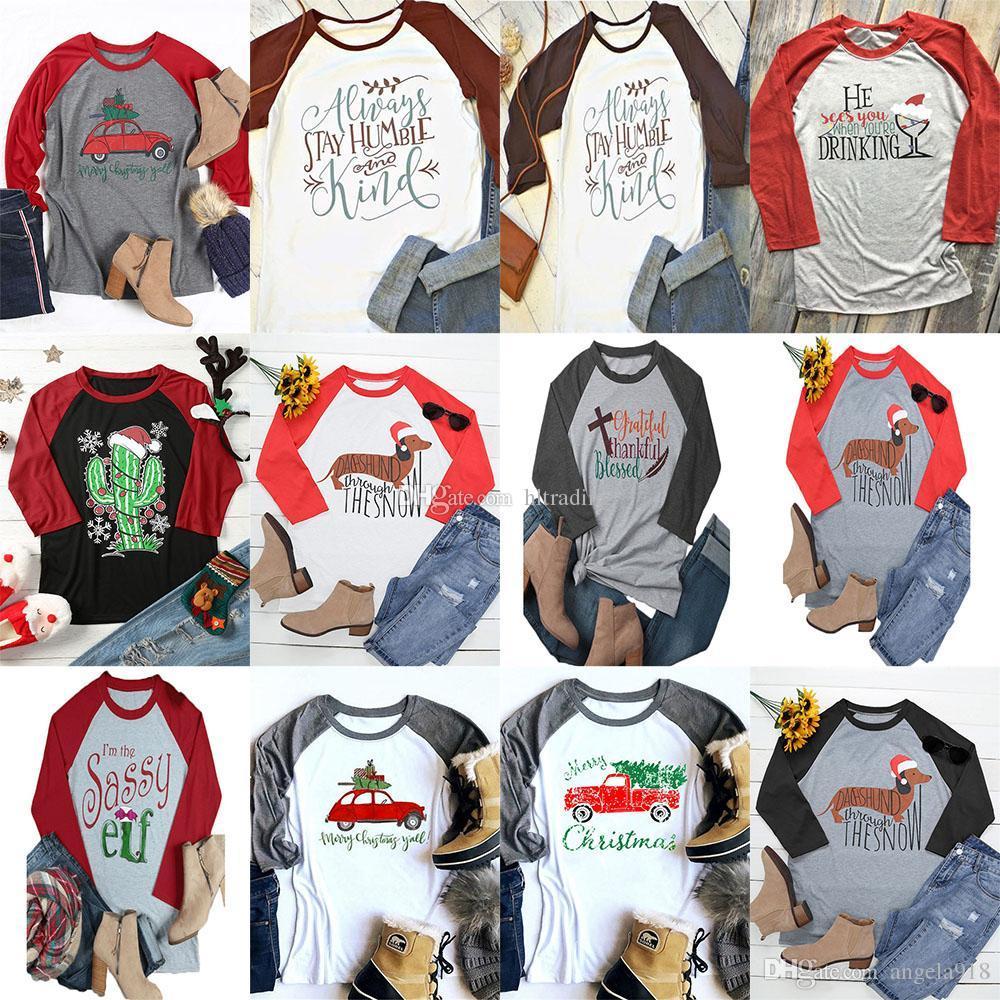 Großhandel Frauen Weihnachten T Shirt Frauen Casual Brief Gedruckt ...