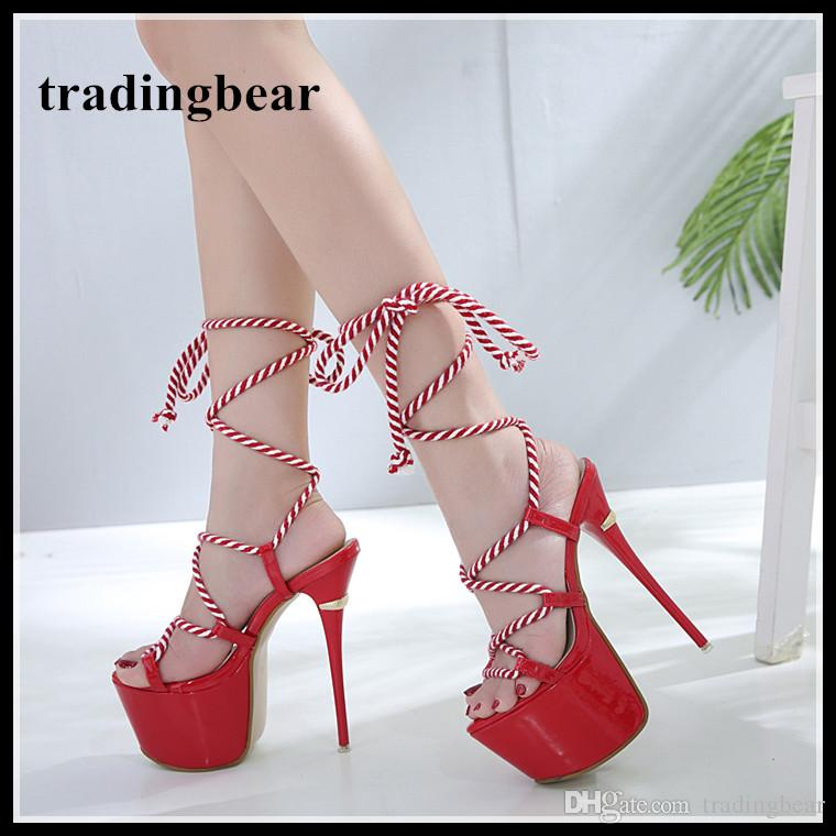 1dabd6f4404 17cm Sexy red wedding shoes ultra platform high heels lace up ankle wrap pumps  women designer shoes size 34 to 40