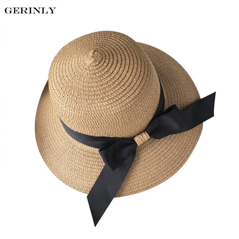 b6ac14247 2018 Hot Summer Hat For Women Chapeau Femme Sun Hat Beach Panama Straw Wide  Black Ribbon Bow Knot Female Cap Protect Skin