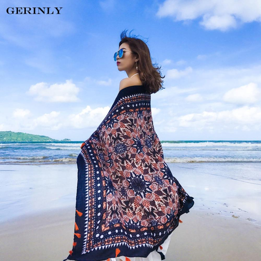 7b599cb2e9eff GERINLY Summer Beach Pareo Scarf Women Fashion Vacation Wrap Shawls Hawaii Dress  Sarongs Cover Ups For Bikini Cotton Scarves Cashmere Scarves Ladies Belts  ...