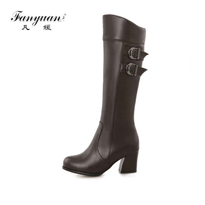 609fd865bc4a Fanyuan Fashion Women Boots Knee High Slim Boots Solid Colors Riding Women  Elegant Comfortable Winter Shoes Size 30 50 Monkey Boots Cheap Football  Boots ...