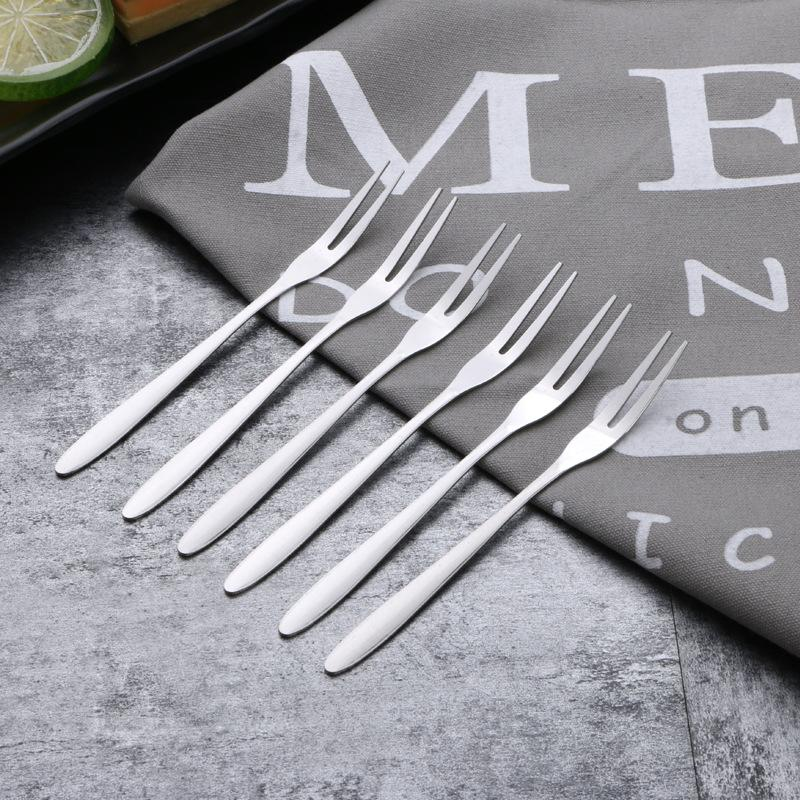 4pcs//Pack Flowers Shape Fruit Fork Stainless Steel Fruit Fork Two Tooth Forks