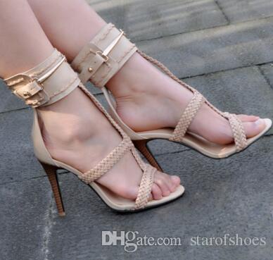 Scarpe da donna 2018 Sandali donna Estate metallo catene tacchi alti moda caviglia scarpe ordito le signore spedizione gratuita