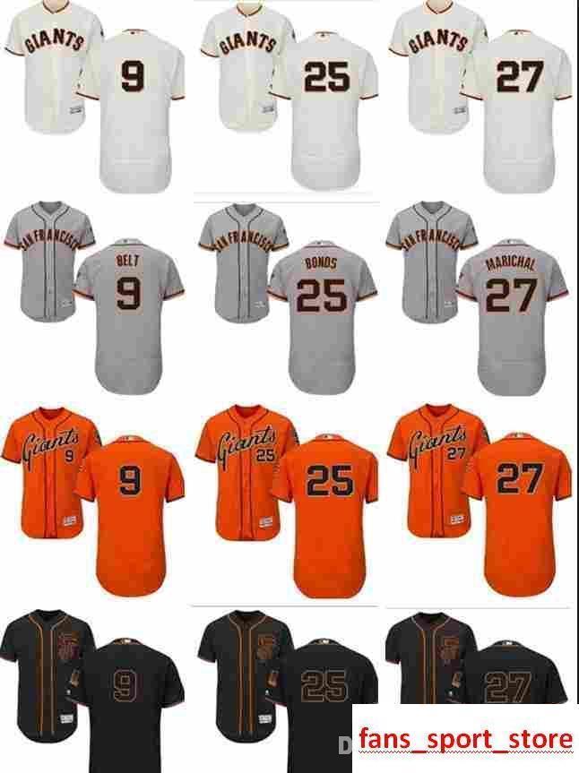 917f3ebad 2019 2019 Custom Men'S Women Youth Majestic SF Giants Jersey #27 Juan  Marichal 25 Barry Bonds 9 Brandon Belt Home Black Orange Baseball Jers From  ...