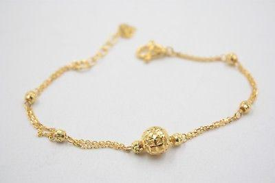 e65999a05 New Real 999 24K Yellow Gold Chain Women's O Link Hollow Ball Bracelet  7.4inch