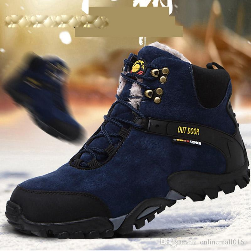 24a45c39b3e Winter Trekking Shoes Men Fur Hiking Boots Waterproof Leather Mountain  Boots Man Sneakers Mens Sport Outdoor Shoe