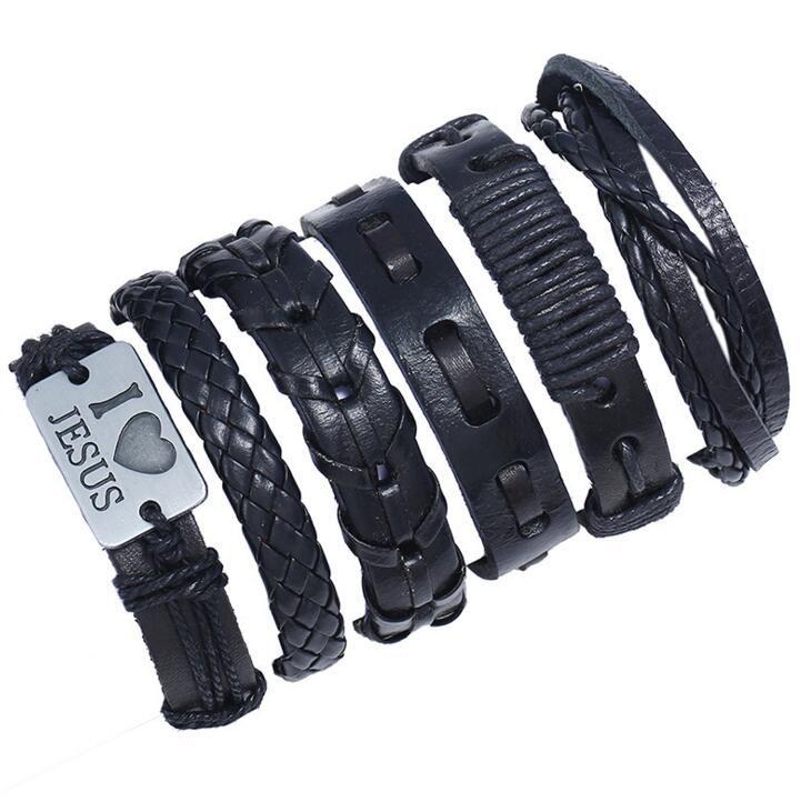 mens Punk vintage braid leather rope charm bracelet I LOVE JESUS DIY combination bracelet set Party Favor