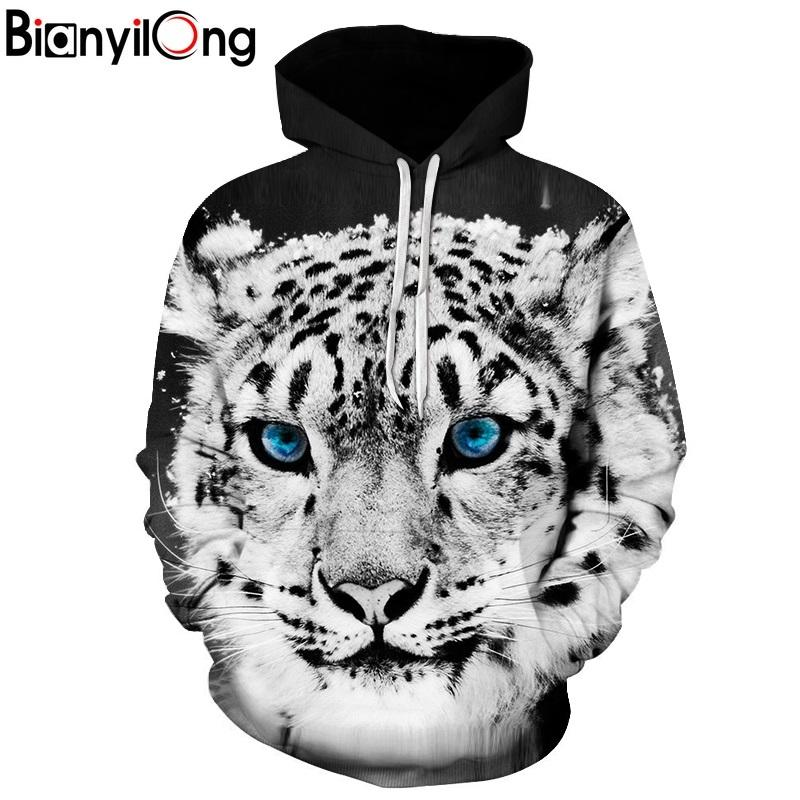 7633eac61f13 2019 BIANYILONG 2018 New Men Women Hooded Hoodies Blue Eyed Tiger Print 3d  Sweatshirts With Hat Autumn Winter Thin Hoody Tops From Sunflowery