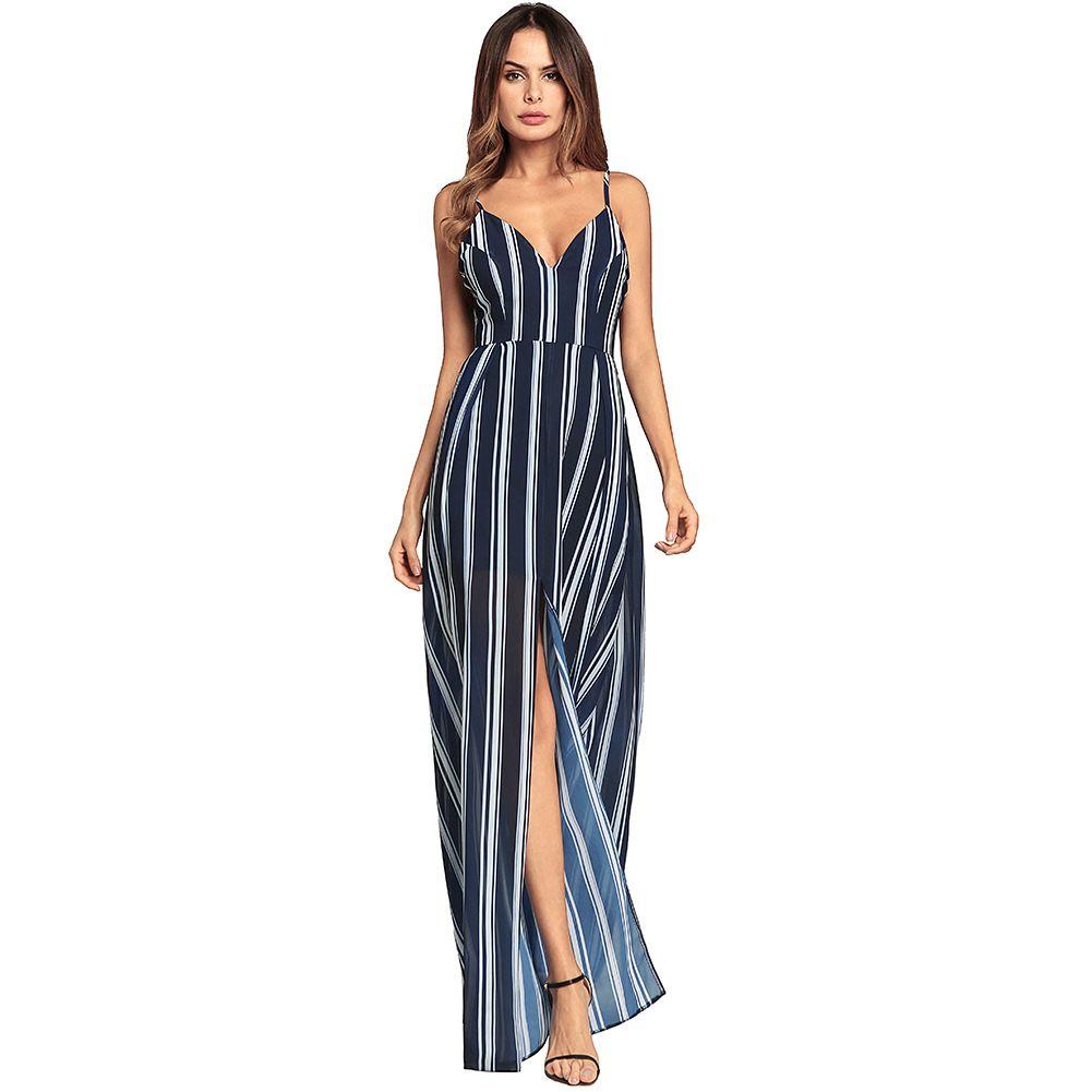 6d4779b34 Compre Das Mulheres Sexy Profunda Decote Em V Backless Listrado Impressão  Dividir Vestido Longo Maxi Vestido De Festa Até Vestido Longo De  Dhgate5168, ...