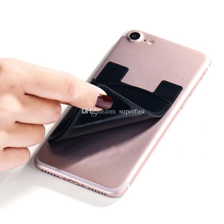 Silicone Portefeuille Carte de crédit Autocollant de poche de poche 3M Adhésif Autocollant ID Porte-carte de crédit Pochette Pour iPhone Samsung Téléphone portable Opp Pack