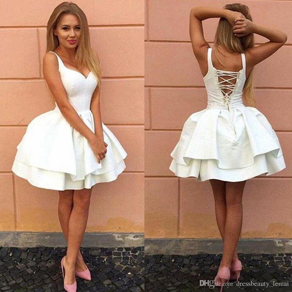 58d1e1b7c41 Sexy Criss Cross Straps Backless Little White Homecoming Dresses V Neck  Tiered Short Party Dresses 2018 New Puffy Cheap Cocktail Dress Dress For  2015 ...