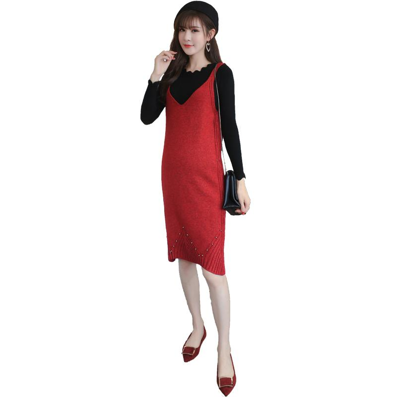 e6eca9397a85b 2019 Pengpious 2017 Winter Pregnant Woman Knitted Beaded Vest Dress+Sweater  Two Piece Suits Maternity Clothes Set Knee Length Dresses From Namenew, ...